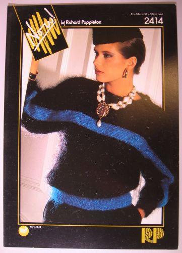 Paper Knitting Pattern Vintage 80s Poppleton 2414 Women's Mohair Dolman Sweater