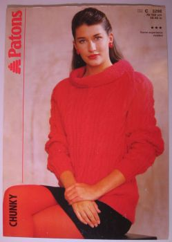Paper Knitting Pattern ~ Vintage 1980s Patons 3298 Ladies Women's Raglan Sweater