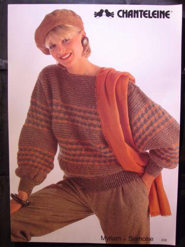 Paper Knitting Pattern ~ 1980s Vintage Chanteleine 25B Ladies Jumper Fair Isle