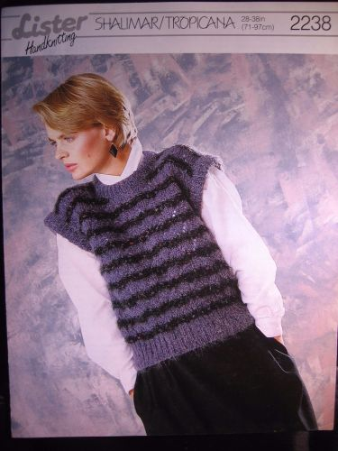 Paper Knitting Pattern Vintage 1980s Lister 2238 Women's Lady's Slipover or Top