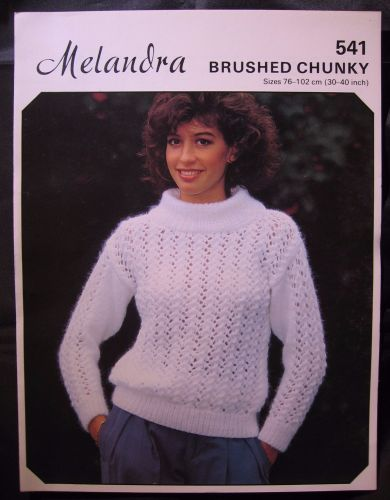 Vintage Paper Knitting Pattern 1980s Melandra 541 Ladies Sweater Brushed Chunky
