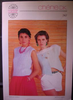 Paper Knitting Pattern Vintage 1980s Water Wheel Cherie 747 Ladies Womens Top dk