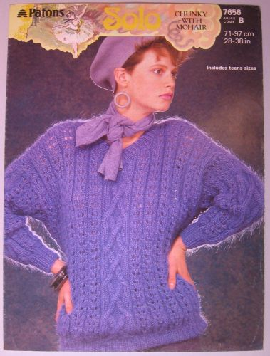 Paper Knitting Pattern ~ 1980s Patons 7656 for Lady's & teen Sweater 28
