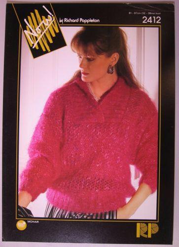 Paper Knitting Pattern Vintage 80s Poppleton 2412 Women's Mohair Collar Sweater