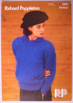 Paper Knitting Pattern Vintage Poppleton 2601 Women's Mohair Sweater with collar