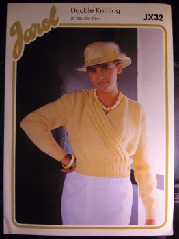 Paper Knitting Pattern ~ Vintage 1980s Jarol JX32 DK Ladies Crossover Cardigan
