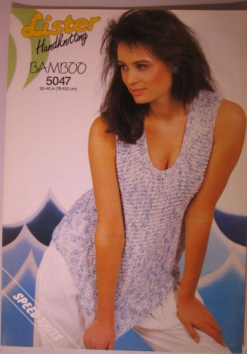 Paper Knitting Pattern Vintage 80s Lister 5047 Ladies Women's Sleeveless Top DK