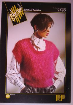Paper Knitting Pattern Vintage Poppleton 2490 Women's Mohair Sleeveless Sweater