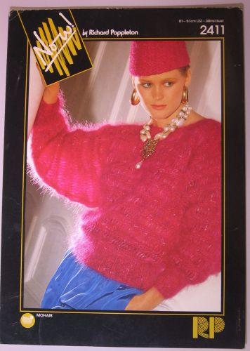 Paper Knitting Pattern Vintage 1980s Poppleton 2411 Lady's Ladies Mohair Sweater