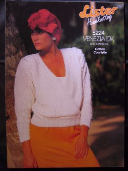 Paper Knitting Pattern 80s Vintage Lister 5224 Women's Lady's Sweater Jumper dk