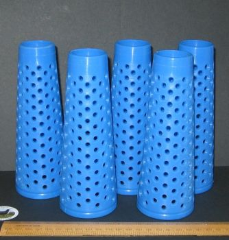 5 x Blue Sturdy Empty Plastic Wool Cones knitting or craft Please read carefully