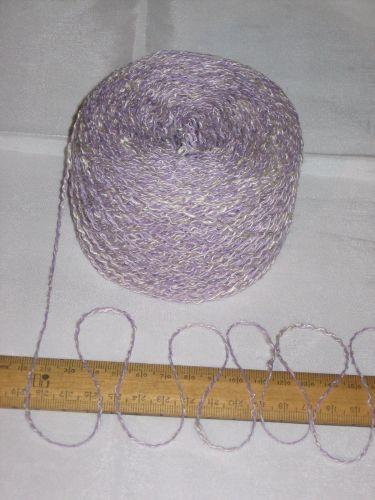 100g Lilac Purple Cream marl wavy boucle double knitting dk wool cotton acrylic