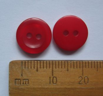 10 pack Rich Red British Buttons 11mm round plastic 2 holes FREE P+P within UK