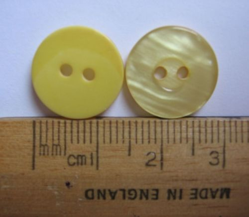 10 pack Yellow round plastic British Buttons 14mm 2 holes with pearl type finish FREE P+P within UK