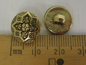 10 pack of Gold metal look plastic Buttons shank Flower Star Design 12.5mm FREE P+P within UK