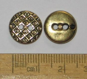 10 pack of  Gold metal look plastic Buttons Criss Cross Diamond Pattern 13mm 2 holes FREE P+P within UK