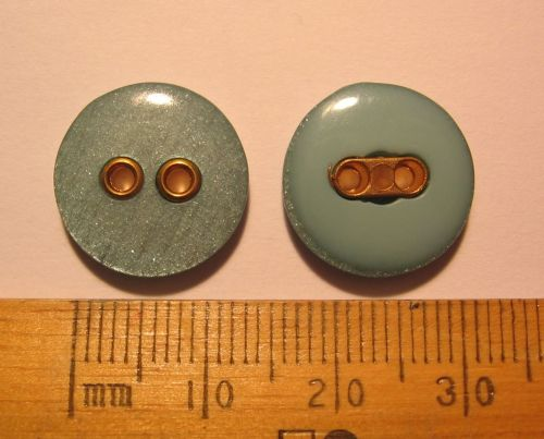 10 pack of British Buttons 15mm Aqua Green plastic with Gold coloured detail, 2 holes FREE P+P within UK
