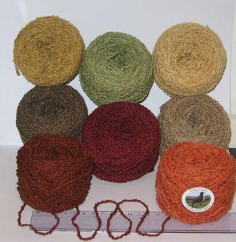 400g Pack 8 x 50g balls in Autumn Shades Boucle 100% British Sheep Wool Aran knitting yarn Brown Red Orange Green FREE P+P within UK