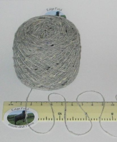 25g ball of Light Grey Tweed 2 ply British knitting wool & acrylic yarn craft 'Erika'