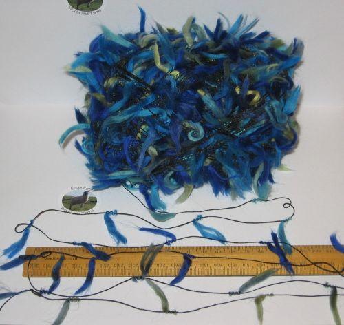 100g ball of Blue Green Feather Fancy yarn thread knitting Weaving Textile Decorative