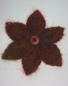 Hand Knit Mohair Brown & Green Autumn Shades Flower Corsage Brooch Pin Ideal Birthday Present Teacher Gift Handmade