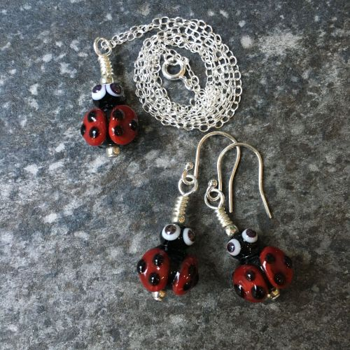 Glass Ladybird Earring and Necklace Set