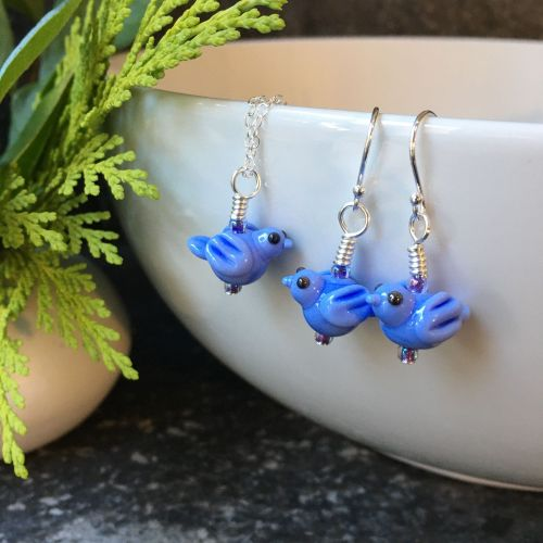 Pale Blue Glass Bird Earrings and Pendant Set