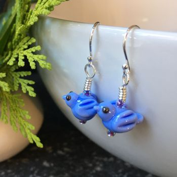 Pale Blue Glass Bird Earrings