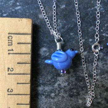 Pale Blue Glass Bird Pendant