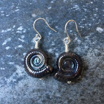 Dark Silver Glass Ammonite Fossil Earrings