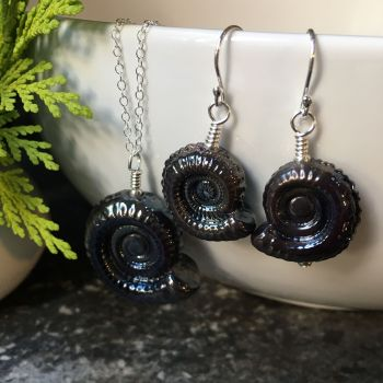 Dark Silver Glass Ammonite Fossil Pendant (large) and Earrings