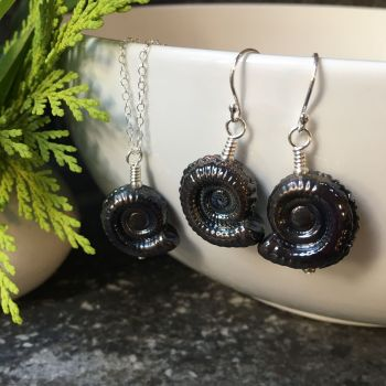 Dark Silver Glass Ammonite Fossil Pendant (small) and Matching Earrings