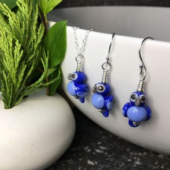 Blue Macaw Glass Parrot Earrings and Pendant Set