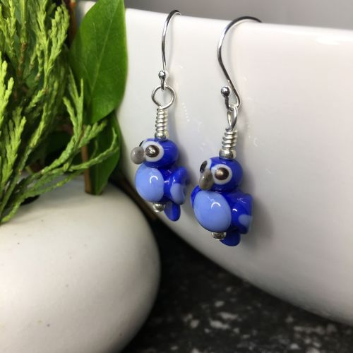 Blue Macaw Glass Parrot Earrings