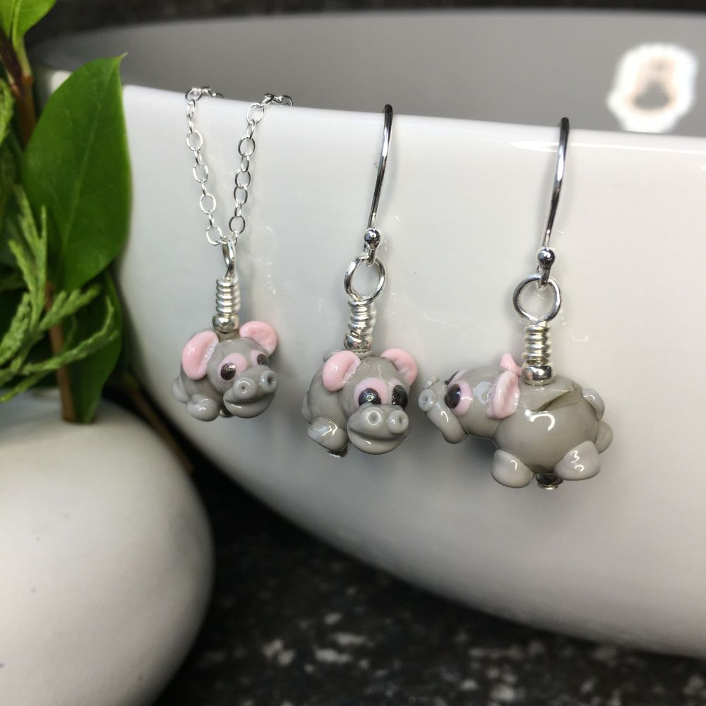 Glass Hippo Earring and Necklace Set