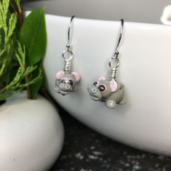 Glass Hippo Earrings