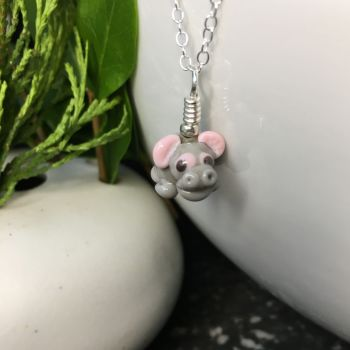 Glass Hippo Pendant on Silver Chain Necklace