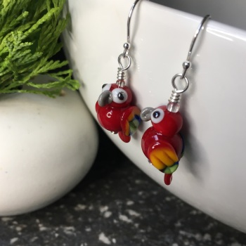 Scarlet Macaw Glass Parrot Earrings