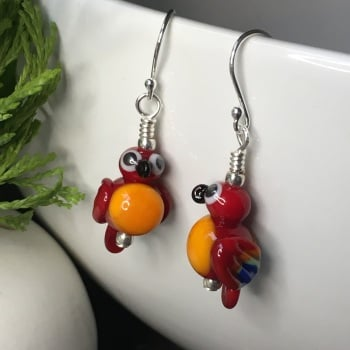 Red and Gold Macaw Glass Parrot Earrings