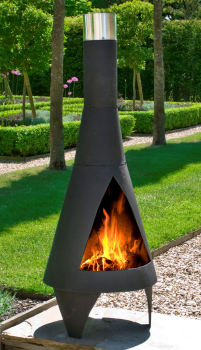 La Hacienda Colorado Medium Black Steel Garden Chimenea