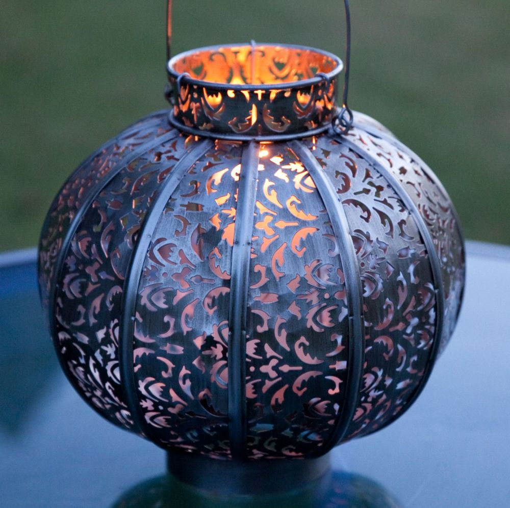 La Hacienda Morocco Globe Lantern Burnished Silver Steel Large 28cm H