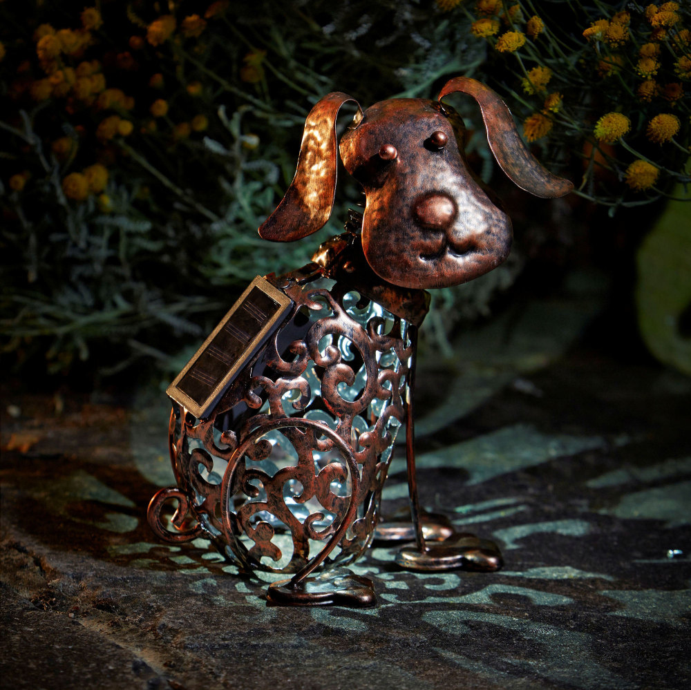 Solar Metal Scroll Dog Garden Patio Light Lighting Animal Ornament