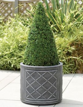 Stewart Lead Effect Round Decorative Plastic Planter 2 size options