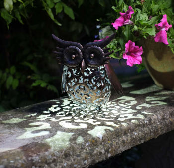 Solar Metal Owl Scroll Garden Patio Light Lighting Animal Ornament