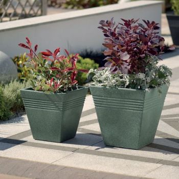 Stewart Piazza Decorative Plastic Planter - Marble Green 2 sizes
