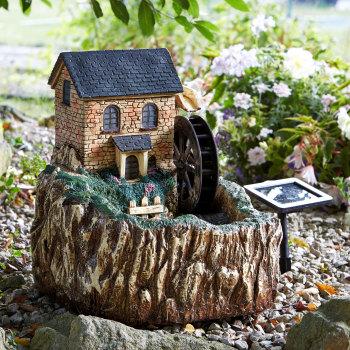 Smart Solar Water Mill Garden Fountain Water Feature