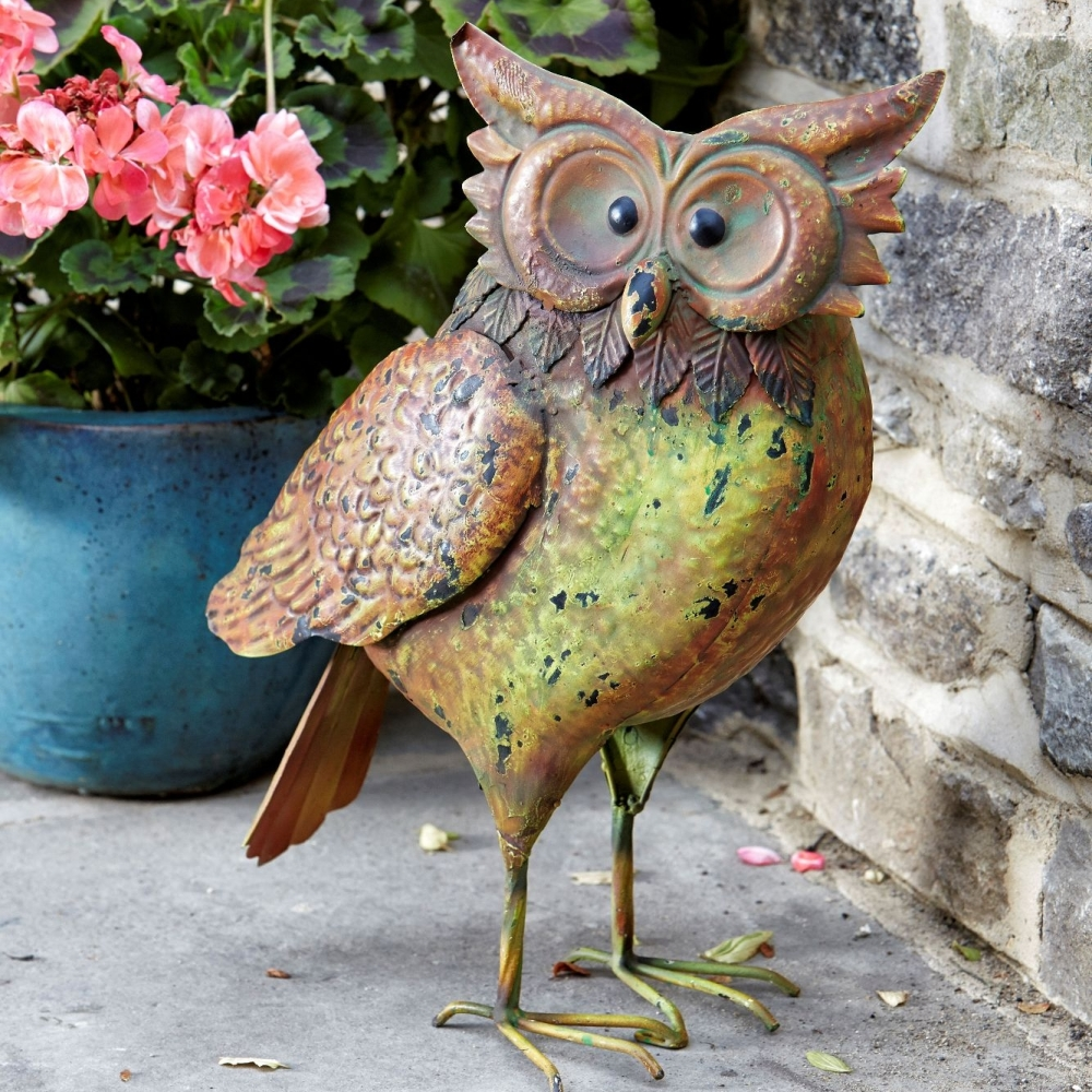 Smart Garden Metal Owl Garden Patio Animal Bird Ornament