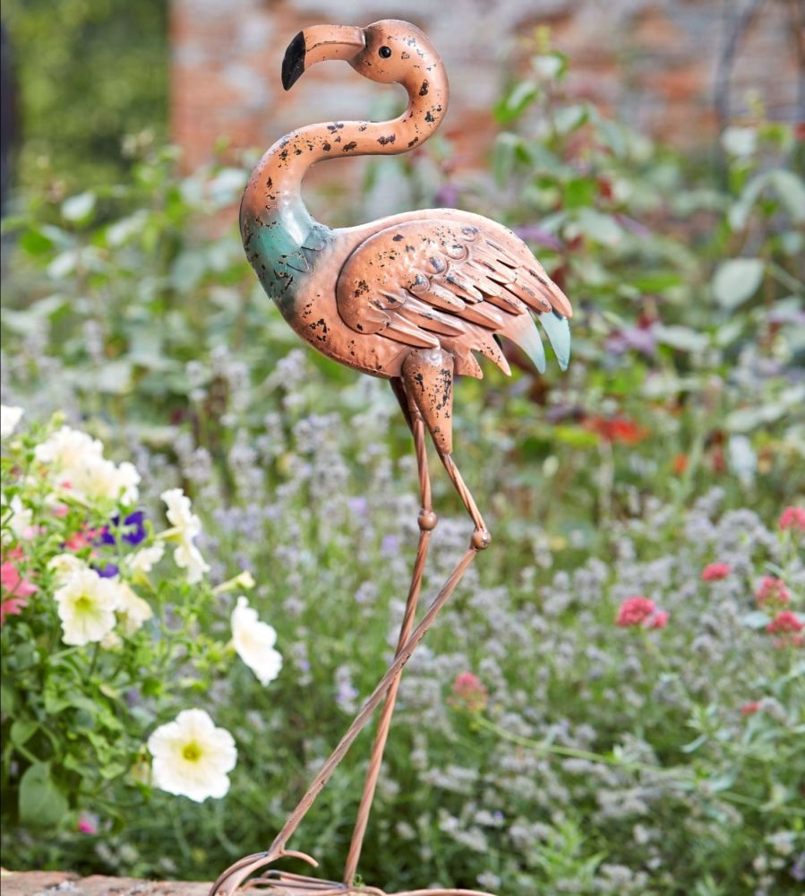 Smart Garden Magnificent Menagerie Flamingo Garden Metal Animal Bird Orname
