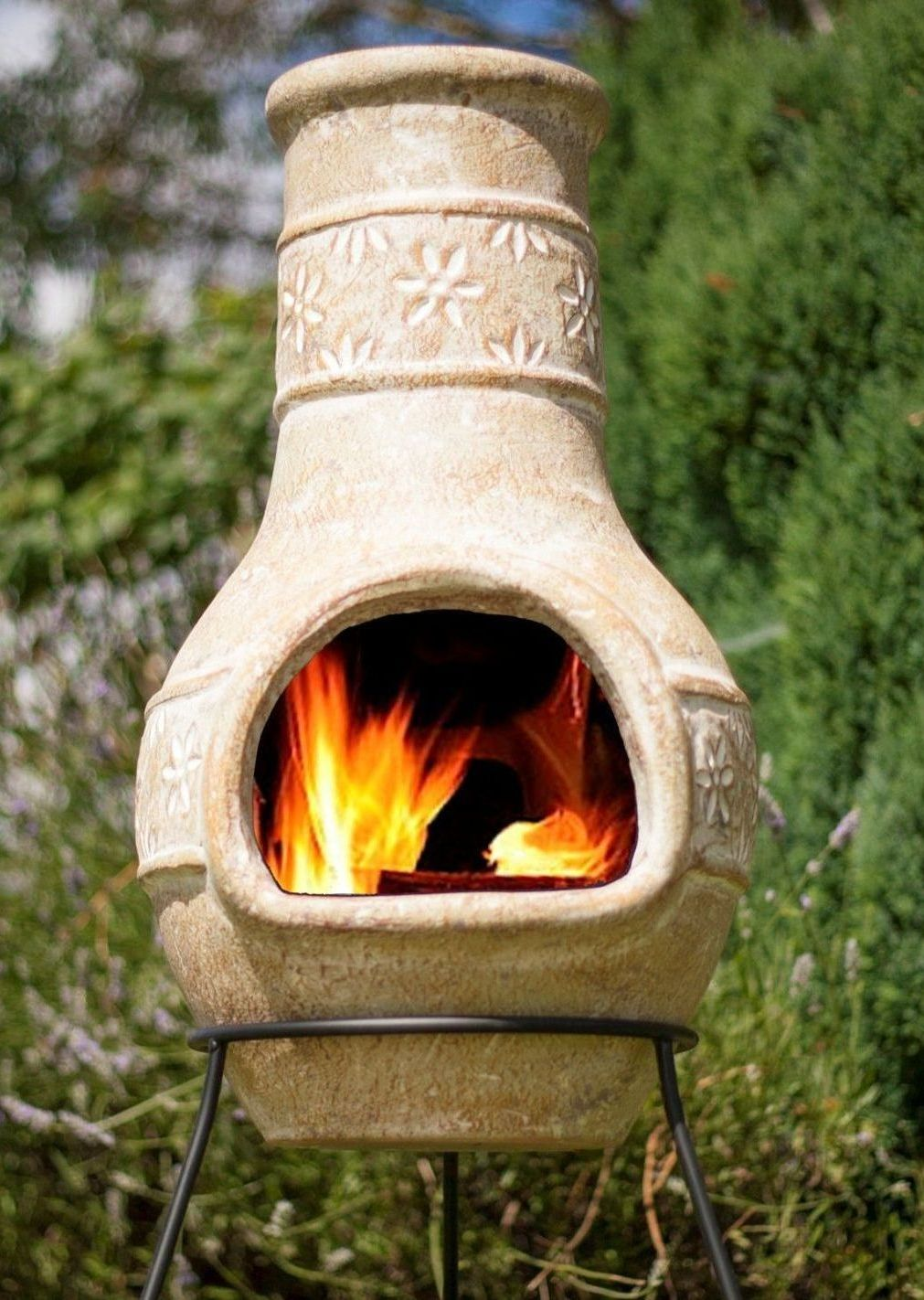 La Hacienda Clay Chimenea Chiminea - Star Flower Design