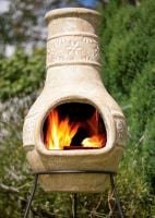 La Hacienda Clay Chimenea - Star Flower Design Medium 67047